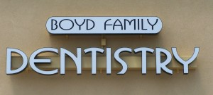 Boyd Family Dentistry Channel Letters mounted on raceway